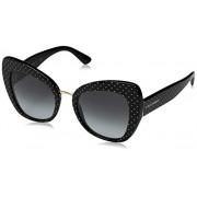 Dolce & Gabbana anteojos de sol para mujer, diseño de gato Ortensia, Pois blanco sobre negro, 51/22/140