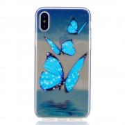 GSMWise Apple iPhone X - Zachte Flexibele TPU Hoesje Back Case - Blauwe Vlinders Design - Transparant / Blauw
