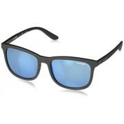 Arnette AN4240 Chenga anteojos de sol cuadradas para hombre, mate, negro, azul (Matte Black/Blue Mirror), 56 mm