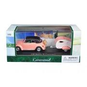 Cararama 14706 1 By 43 Diecast Volkswagen Beetle Pink With Caravan I Trailer & Display Case Car Model