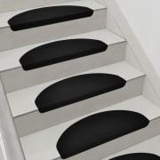 Комплект от 15 броя самозалепващи се килими (стелки) за стълби 280 g/m² , Полукръг, Черен