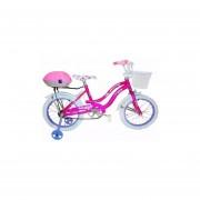 Bicicleta Rodado 16 Inflable De Nena Con Rueditas De Apoyo-Rosa