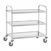 Serving Trolley - Stainless Steel - 3 Troughs - Up to 150 kg - 2 Brakes