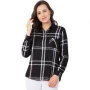 Hive91 Black Check Shirts for Women Rayon Casual Shirt