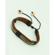 Dare by Voylla brown pu leather bracelet adorned with twisted black thread and tiny golden beads