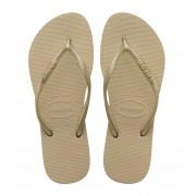 Havaianas Slippers Flipflops Slim Logo Metallic Beige