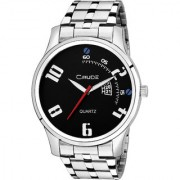 Crude Analog Watch Stainless Steel Strap Black Color Dial For Men's Boy's