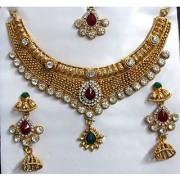 Maroon Green Stone Princes Jhumka Necklace Set