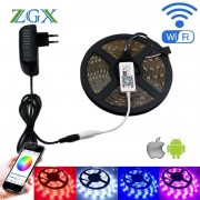 ZGX Wifi Controller SMD 5050 RGB LED Strip light lamp 5M 10M 15M Flexible Tape diode ribbon Waterproof DC 12V AU UK adapter set
