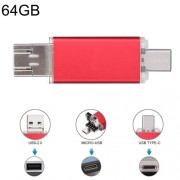 64GB 3 in 1 USB-C / Type-C + USB 2.0 + OTG Flash Disk For Type-C Smartphones & PC Computer (Red)