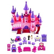 Fairy Princess Castle 24 Toy Doll Playset w/ Lights, Sounds, Prince and Princess Figures, Horse Carriage, Castle Play House, Furniture, Accessories