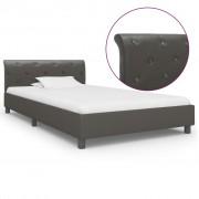 vidaXL Estrutura de cama 100x200 cm couro artificial cinzento