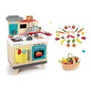 Set bucătărie de jucărie din lemn Wood Cook Smoby cu aparat de cafea şi legume, fructe în coş 311901-5