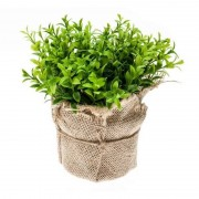 Bellatio flowers & plants Nep tuinkers kruiden plant groen in jute pot kunstplant