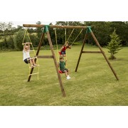Little Tikes Riga Wood Swing Set with Rope Ladder