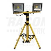 Tracon RSMDA220W LED-es állványos fényvető, 2x20 W teljesítménnyel, sárga-fekete színben, 4500K színhőmérséklettel, IP65-ös védelemmel, 2x1400 lm fényerővel