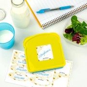 Stikets Write-on labels for bottles and lunch boxes with pattern background