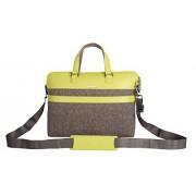 Veuza Paris Premium Jacquard and Faux Leather 14 inch Grey Laptop Bag for Macbook/ Macbook Air
