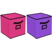 Billion Designer Non Woven 2 Pieces Large Foldable Storage Organiser Cubes/Boxes (Pink & Purple) - CTKTC35265 CTKTC035265(Pink & Purple)