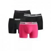 Puma boxershorts Placed Logo 4-pack Zwart/Pink-M