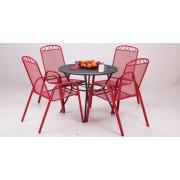 Baštenski set Melfi - okrugli sto i 4 crvene stolice