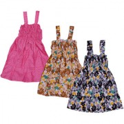 IndiWeaves Baby Girls Cotton Sleevless Printed Frock (Pack of 3)