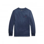 BOYS 6-14 YEARS Cotton Jersey Long-Sleeve Tee - Fresco Blue Hthr - Size: Medium
