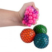 Set of 6 Stress Relief Sensory toys, 3 Pull and Stretch Bounce Ball, and 3 Mesh Squishy Balls,
