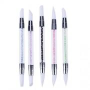 Rrimin Nail Art Liner Brush Set Painting Drawing Gel Polish Pen UV Manicure Tool Kit (5 Pcs UV Gel Style)