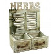 Fali virágtartó fiók Herbs 2 fakkos 27x12x36cm 4366 - Virágtartó