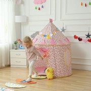 Play House - Foldable Pop-Up Castle Cubby Play Tent - Indoor and Outdoor Playhouse for Kids Secret Garden for Playing, Reading - Great Gift For Girl's Boy's Kids Gifts - Play Hut By KARP - Pink & White Color