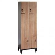 Garderobekast met houten L-vormige deuren - Breedte 300 mm