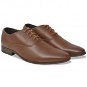 vidaXL Sapatos clássicos homem c/ atacadores tam. 41 couro PU castanho