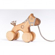 Pull-Along Hand-Crafted Birch Wood Non-Toxic Horse Toy Blue