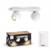 Philips Hue Buckram opbouwspot - White Ambiance - 2-spots wit (incl. DIM switch)