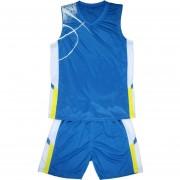 Баскетболен екип потник с шорти - син с бяло