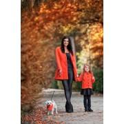 Dámský kabát bez límce oranžový