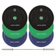 Capital Sports Nipton Mens Set II, olimpiai rúd, 3 pár súly, 5, 10 és 20 kg (PL-8420-8773)
