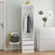 vidaXL Гардероб с чекмеджета, бял гланц, 50x50x200 см, ПДЧ