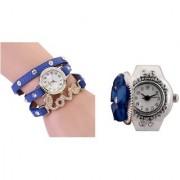 Geneva Blue Love Diamond Bracelet Leather Belt With Stretchable Finger Ring Analog Watch For Women Girls