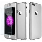 Husa Full Cover 360 (fata spate geam sticla) pentru Apple iPhone 7 Plus Silver
