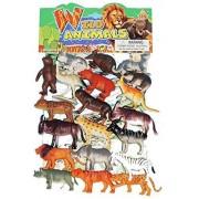 Tanvi 12 Piece Assorted Mini Non-Toxic Jungle Animals Toys Set for Kid's, Medium (Multicolour, Animal Kingdom)