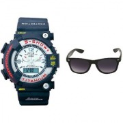 CALIBRO White mtg Round dial men's watch & Black Wayfarer Sunglass