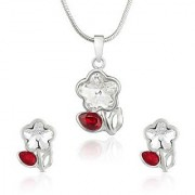 Mahi Rhodium Plated Red Drop And White Floral Pendant Set Made With Swarovski Elements For Women Nl1104115Rwhired