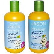 JASON Kids Daily Clean All Natural Organic Shampoo & Conditioner Bundle (With Aloe Vera Calendula and Chamomile) For Men Women & Children Tear Free Formula 8 fl. oz. each