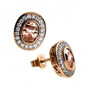 Zilveren Oorknoppen Fancy Colors Ovaal Bruin Rosé-goud kleurig 806.0235.00