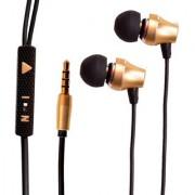 SMJ (X7) Super Stylish Design Classical Extra Bass DTS Surround METAL PLATED FINISH Universal Earphone-SMJX7-HS-065-GOLD