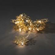 Konstsmide Ljusslinga 10 Guld Metall Snöflingor Varmvit LED Batteri