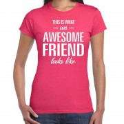 Bellatio Decorations Awesome friend kado t-shirt roze voor dames XS - Feestshirts