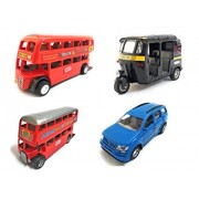 Combo of 4 Vehicle Toys | Double Decker Bus (Mini, Small Size), Mahindra XUV 500 Car, Auto Rickshaw and Double Decker Bus Toy for kids |Toys for Show piece | Miniature/Model Car Toys |Pull back and Go | Red, Blue, Black and Red Color, Set of 4 Toys